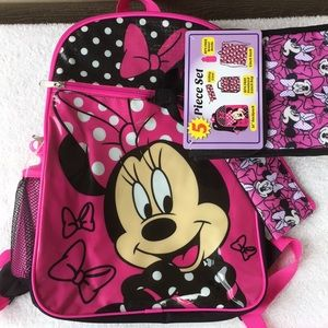 Adorable Minnie Mouse 5 pc backpack set, NWT!